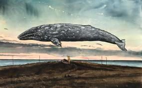 "Rye Tippett ""Victor and the Gray"" Oil on Panel, 34"" x 55"""